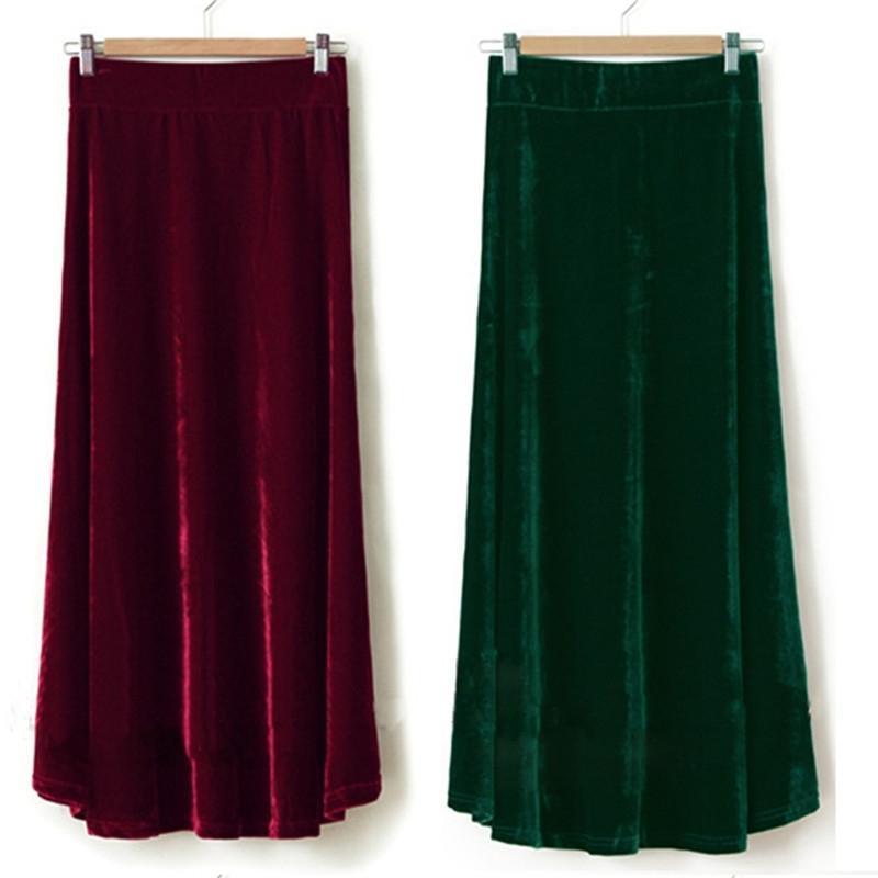 Tiyihailey Livraison Gratuite XS-10XL NOUVEAU LONG MAXI A-LINE Femmes Taille élastique Taille d'hiver Client de Velours Velours Jupe velours velours 201110