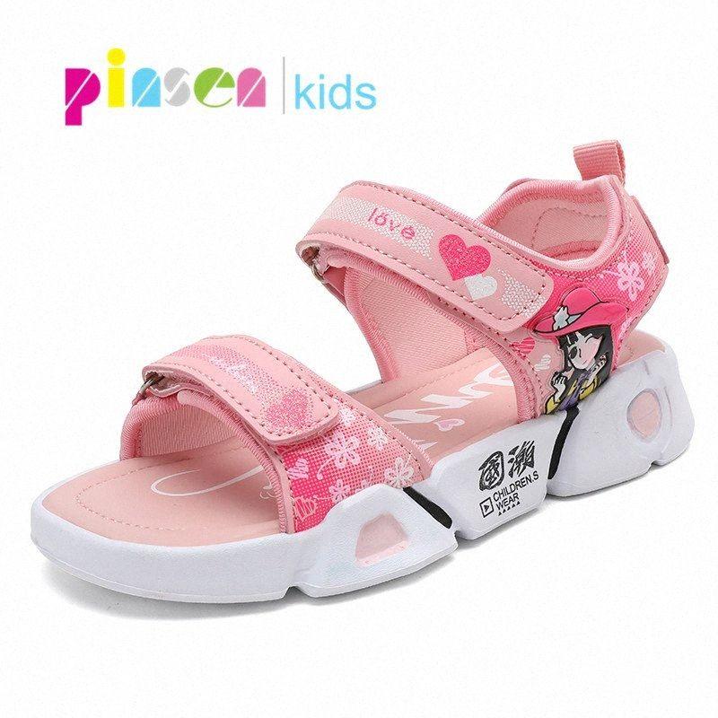 2020 Scarpe Fashion Girls Sandali bambini della scuola di sport Sandali estate nuova Baotou inferiore molle Slittamento di cuoio dei bambini per la ragazza Rfks #
