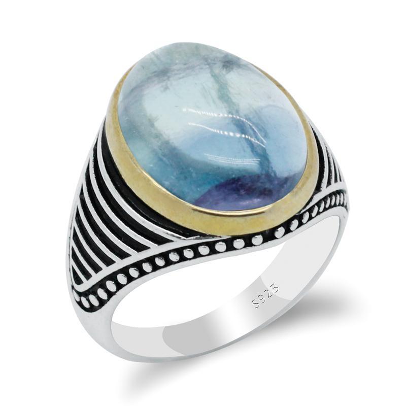 خواتم العنقودية حلقة حجر الفلوريت الطبيعي للرجال النساء مجوهرات هدية الفضة 925 بحيرة الأزرق خمر شريط تصميم جودة عالية