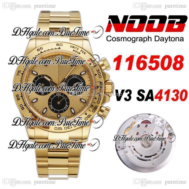 N V3 SA4130 Cronografo automatico orologio da uomo orologio oro giallo oro giallo nero secondario 904L Bracciale in acciaio 904L Best Edition 116508 PTtrx Puretime R002
