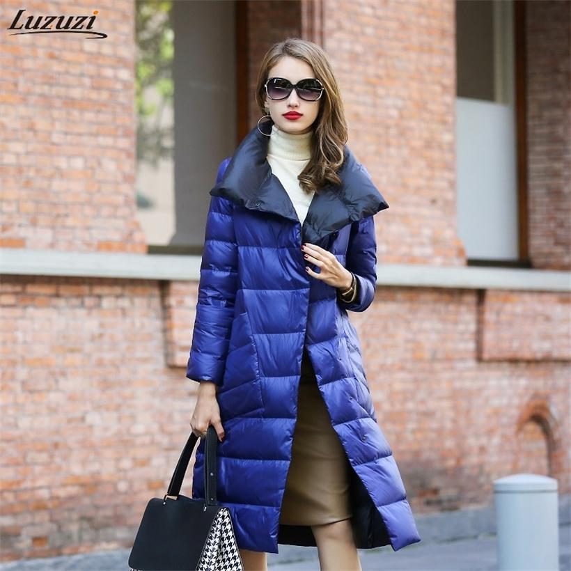 Luzuzi Kadınlar Çift Taraflı Aşağı Uzun Ceket Kış Balıkçı Yaka Beyaz Ördek Aşağı Ceket Kruvaze Sıcak Parkas Kadın Giyim 201210
