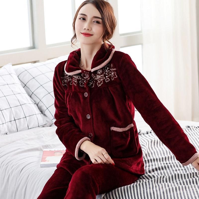 Осень зима теплые пайджамы наборы для женщин толстые фланел коралл с длинным рукавом женские пижамы пижамы набор пижама