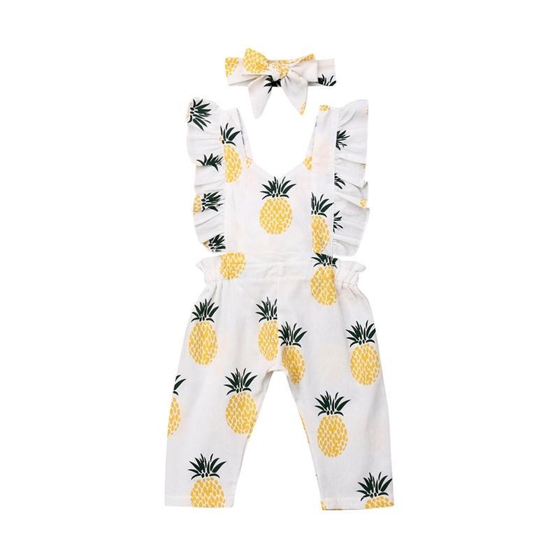 Nouveau-né bébé fille vêtements sans manches d'ananas à volants d'ananas imprimé romper combinaison bandeau 2 pcs tenue vêtements été T200721