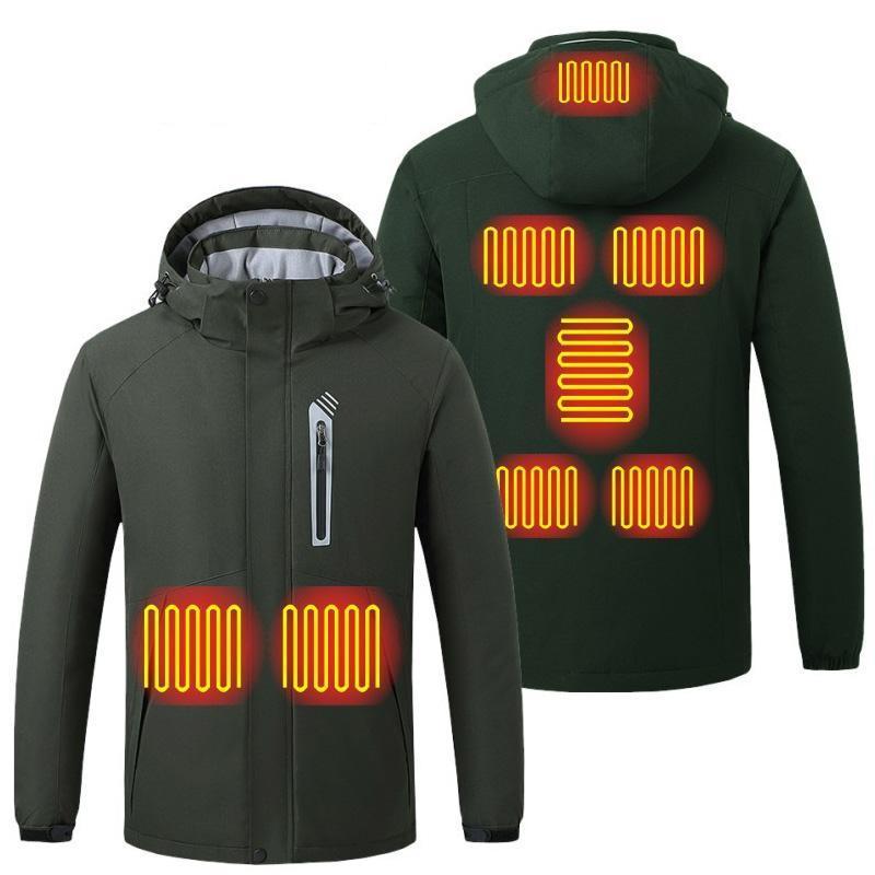 Мужские Parkas 2021 Smart Отопление Одежда для мужчин Водонепроницаемый Ветрозащитный Тепловой Куртка с капюшоном Плюс Размер Тело 5XL
