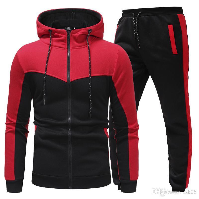 New Fashion Men Set Set Zipper Felpe con cappuccio + Pantaloni Set Abbigliamento maschio Casuals Casual Slim Fit Sportswear Maschile Brand Shirts Shirts Abbigliamento