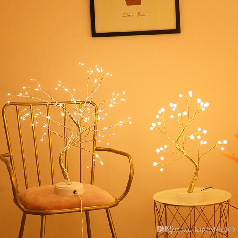 LED Night Light Mini Arbre de Noël Fil de cuivre Lampe de guirlande de cuivre pour la maison Enfants Chambre à coucher Décor Fairy Lights Luminary Vacances Éclairage