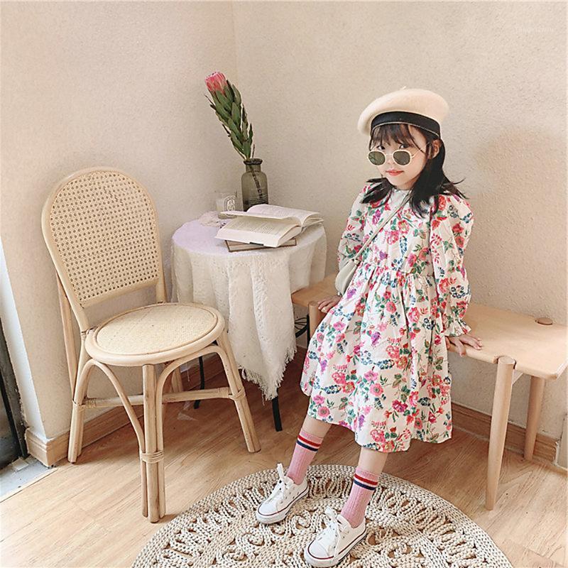 Outono vestidos de menina nova moda longa manga floral vestido bebê menina doce princesa vestido crianças crianças roupas1
