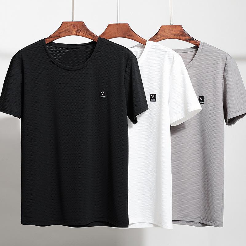 Été Soie de glace Casual manches courtes T-shirt à col rond homme mince séchage rapide Climatiseur respirant sports de sport