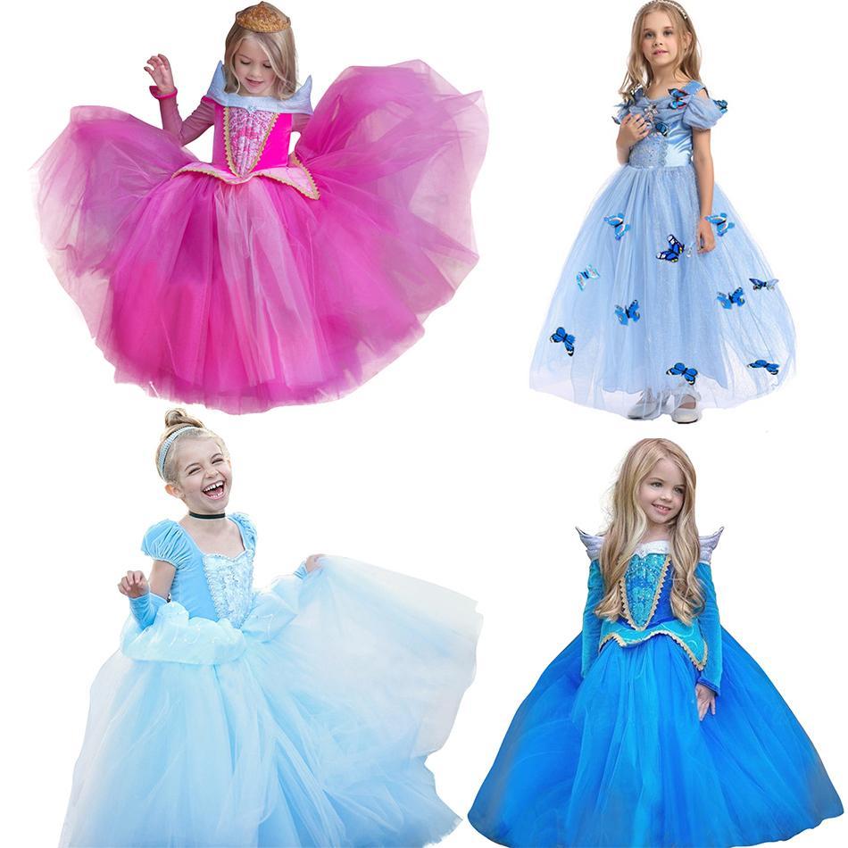 Mädchen-Prinzessin Dress up Kostüm Aurora Cendrillon Belle Jasmine Dornröschen Kleider Kind-Kind-Partei-Halloween-Abend Frock 201006
