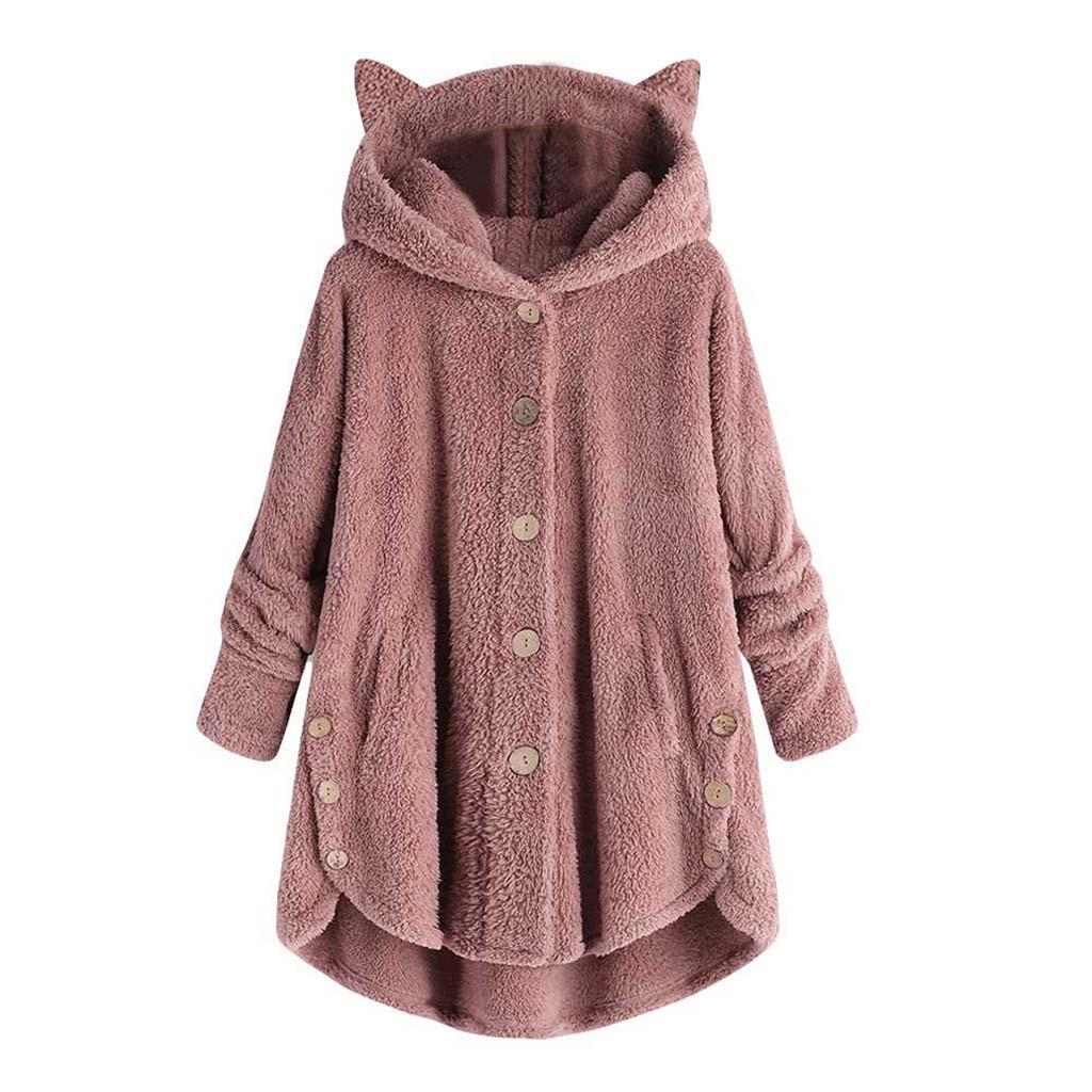 Mujeres suéter invierno espesar vellón cálido lindo gato oreja botón abrigo kawaii con capucha suéter suelto # 20 lj201124