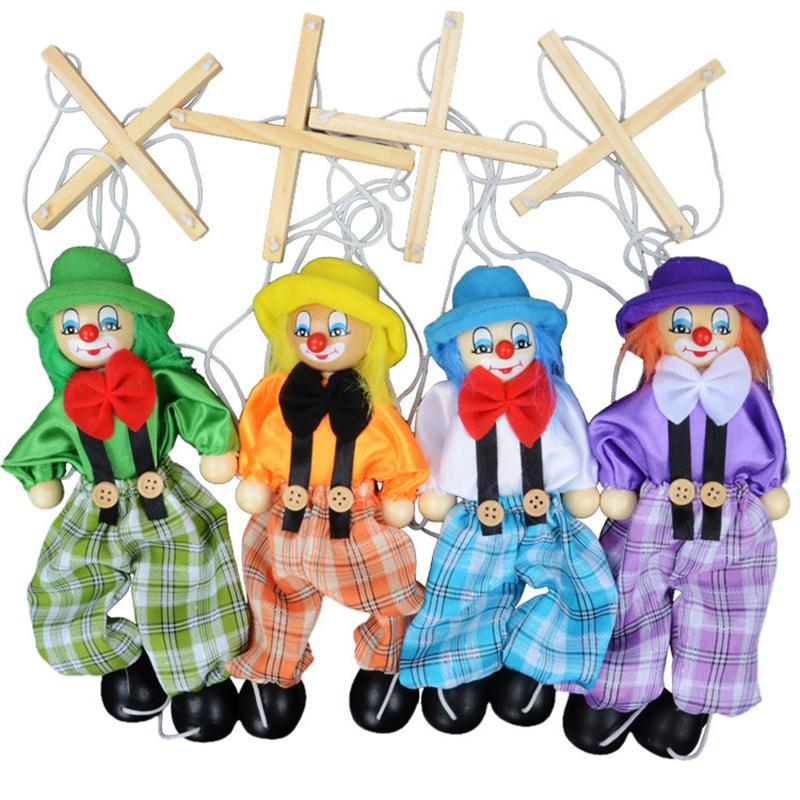 25 cm lustige vintage bunte pull string puppe puppe clown holz marionette handcraft spielzeug gemeinsame aktivität puppe kinder kinder geschenke z2042