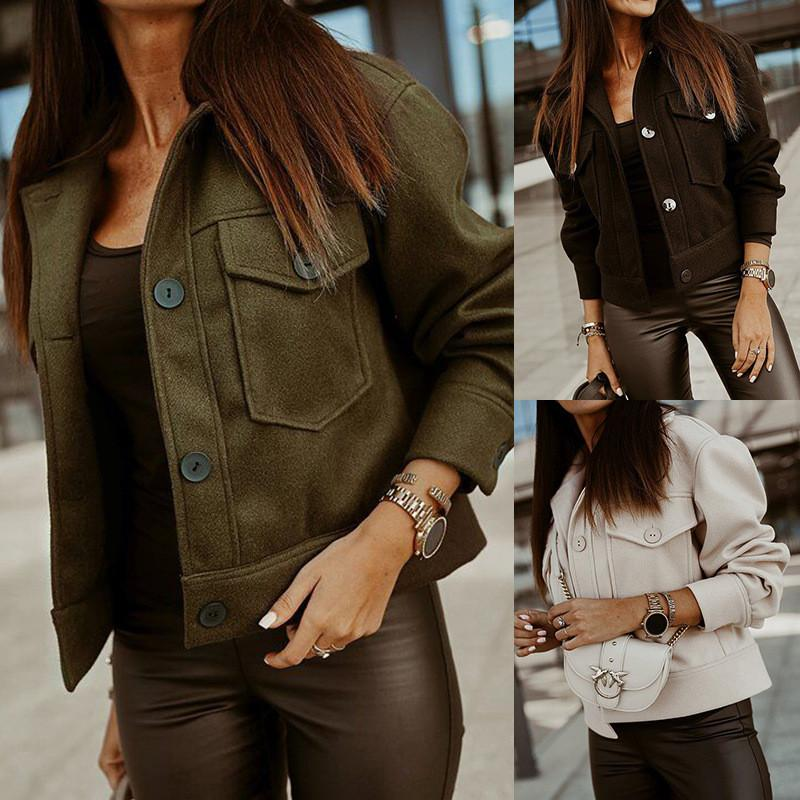واحدة اعتلى Duoble جيوب مصمم الأزياء سترة طويلة الأكمام طية صدر السترة الرقبة ملابس خارجية الخريف الشتاء الملابس النسائية
