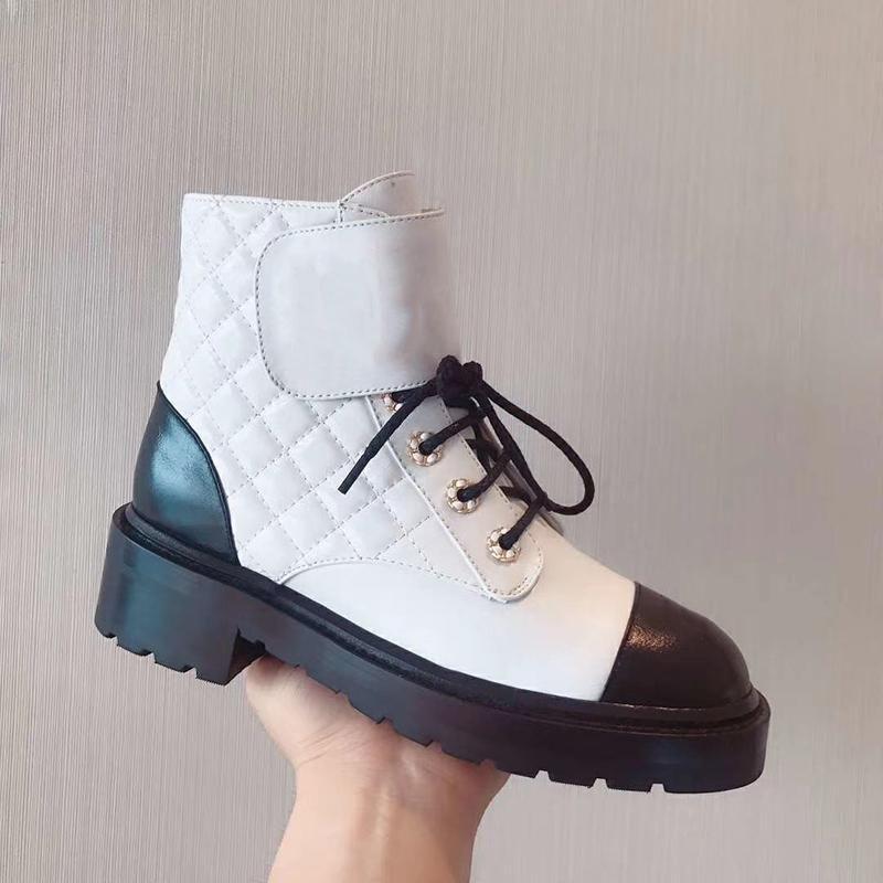 Orijinal Stil Üst Patent Dana derisi Martin Çizme Bayan Ekose Tweed Platformu Düz Ayak bileği Boot Siyah Beyaz Deri şemsiye Dantel-up Kış Ayakkabı