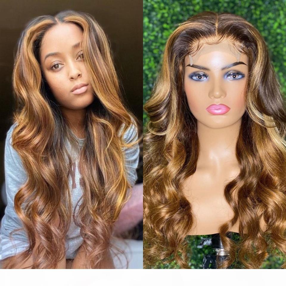 4 27 Destaque 13x6 onda do corpo peruca dianteira do laço peruca Com Dark Brown Root Cabelo Humano Pré arrancada Ombre brasileira Humana peruca de cabelo