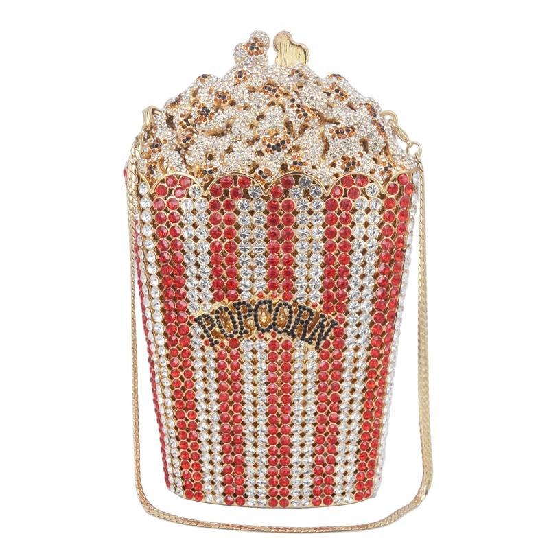 Designer Popcorn Abendtaschen Luxus Kristall Party Geldbörse Wedding Bags Bunte Kupplungsbeutel SC997 201204