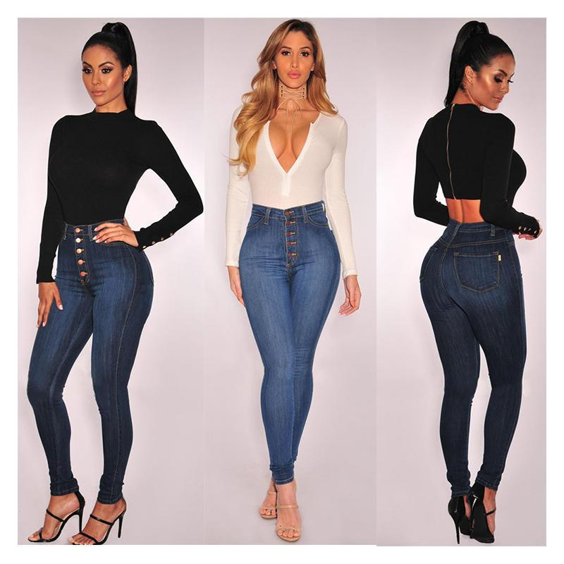 Женщины стройная высокая талия длинные джинсы джинсы карандаш брюки для джеги дамы повседневные тощие днища партии туристические брюки