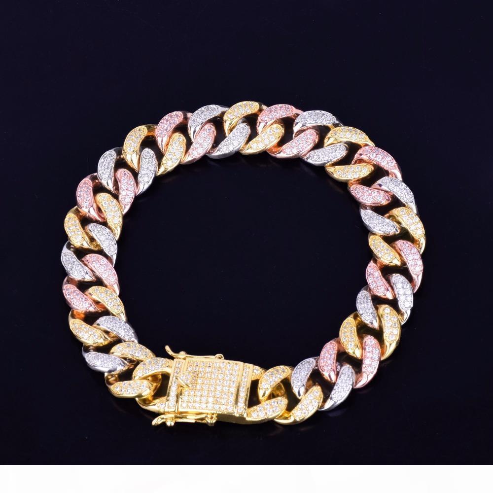 """12MM chaîne cubaine couleurs mélangées Bracelet Hip hop Hommes Bijoux Glacé Rose zircons Or argent Bracelet 7"""" 8"""""""