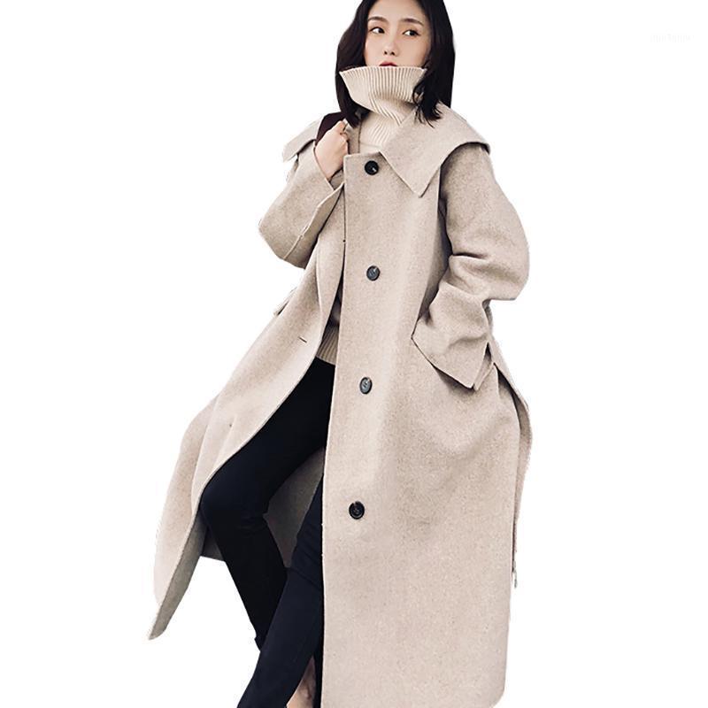 Women's Wool & Blends Women Coat High Quality Fashion Tied Waist Vintage Woolen Jacket Female Elegant Khaki Overknee Long Windbreaker Ly491