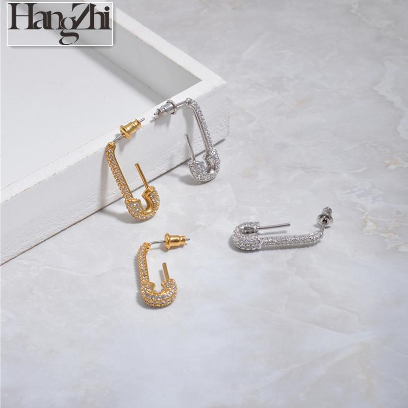 HANGZHI 2020 New Trendy Punk Simple Geometric Imitation Pin shaped Rhinestone Metal Earrings for Woman/Men Girl Party Jewelry