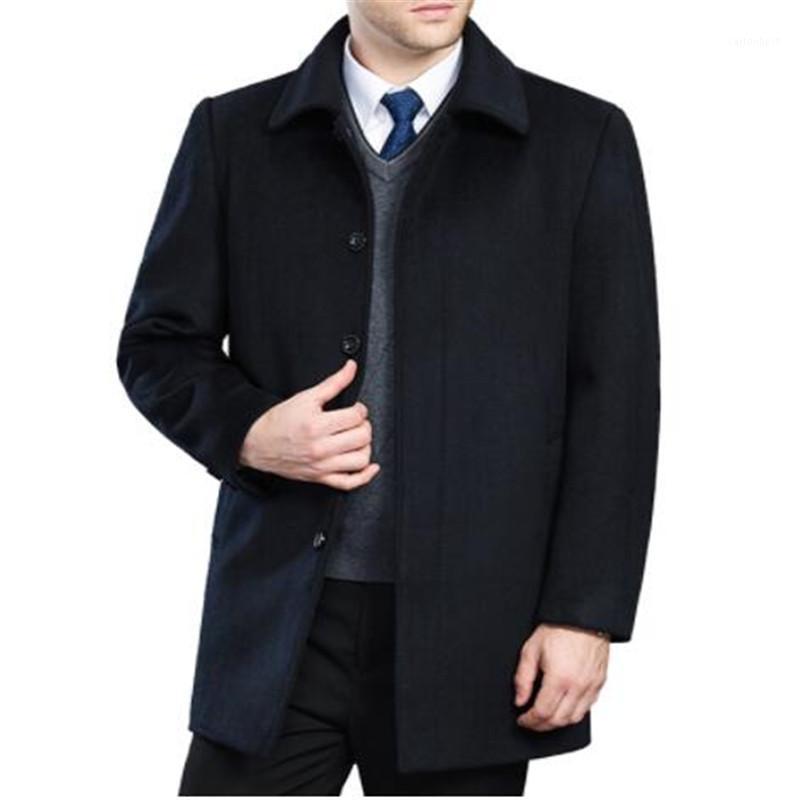 Мужская шерстяная смесь высококачественные кашемировые пальто мужчины стиль зимний пальто мужской поворот вниз воротник однобортный шерстяной верхней одежды 2 стилей1