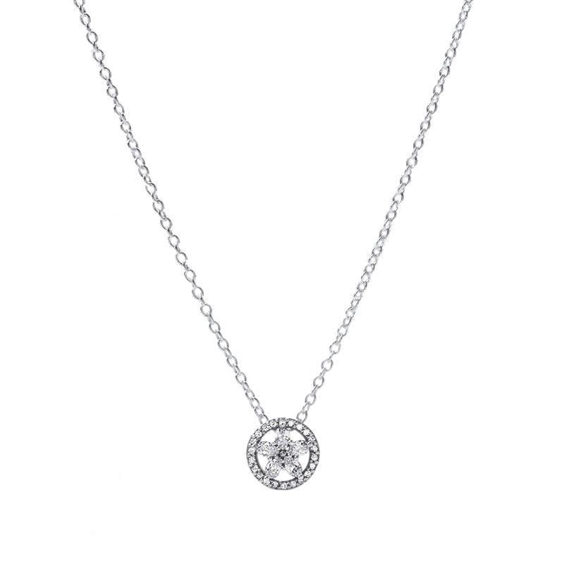 2020 Novo 925 Sterling Prata Sparkling Snowflake Collier Pingente Colar Fits Europeu Pandora Jóias Colar Colar