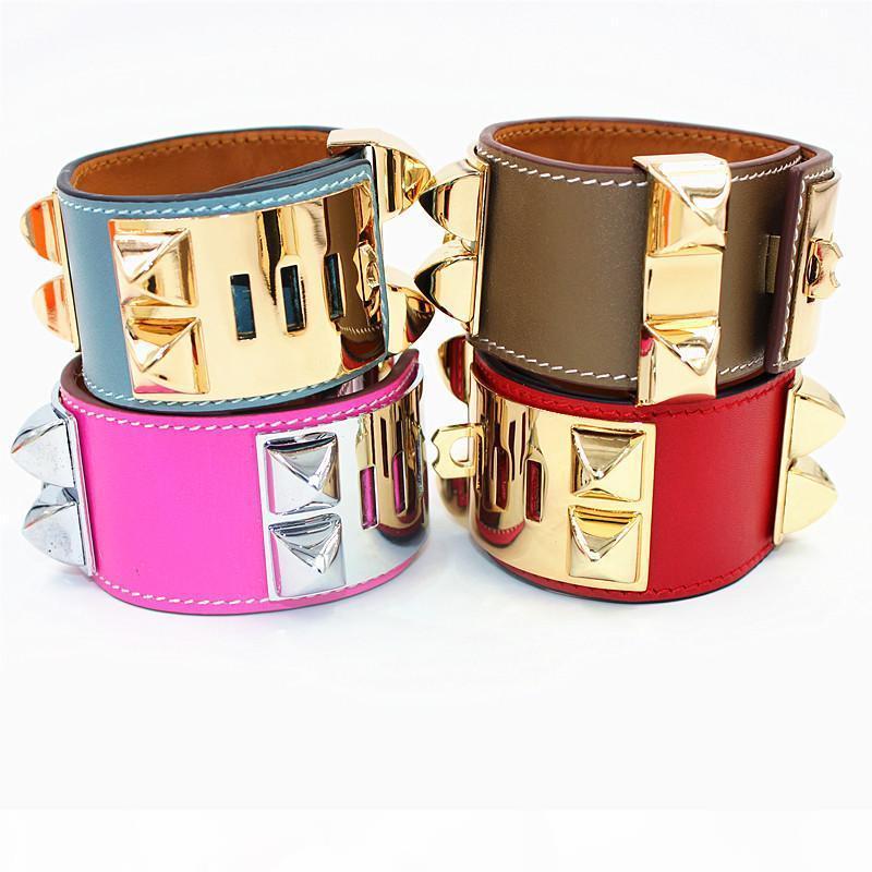 Top-Qualität Punk-Armbänder breit glatt Echtleder Armbänder Armreifen für Frauen Männer H Bracelet-Statement Schmuck YX020