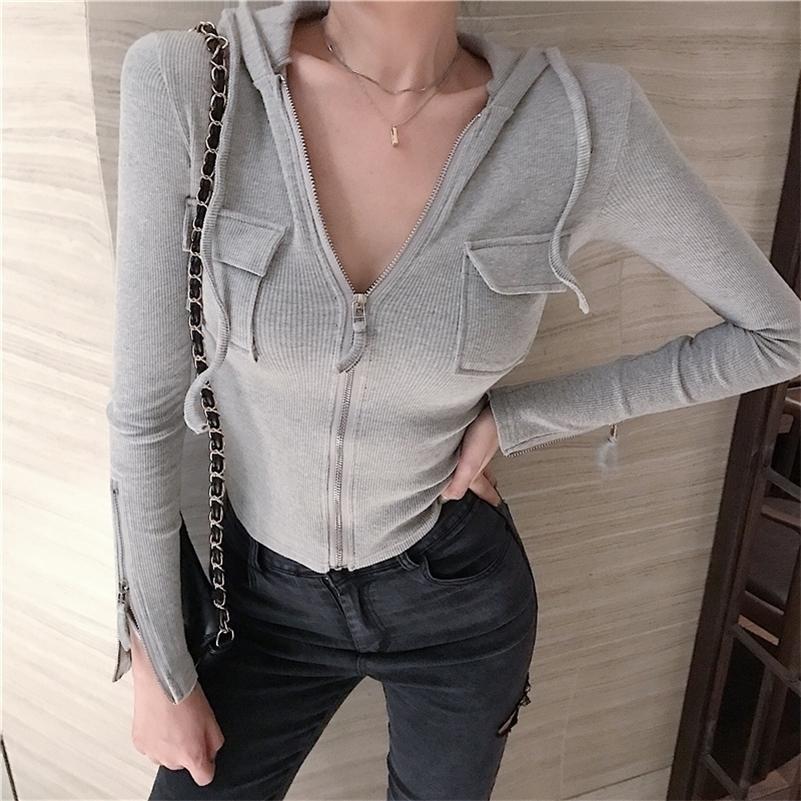 Корейская одежда Весна осень с капюшоном карманный свитер Женщины тонкий молния кардиган с длинным рукавом, вязаные джемпера M9N802 201128