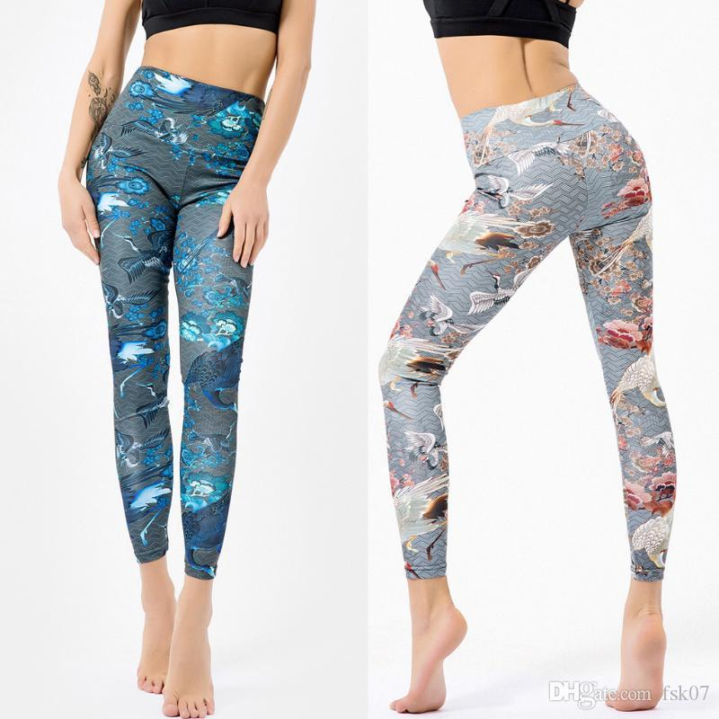 Women's Sexy Printed High Waist Stretch Tights Belly Control Slimming Booty Leggings Fitness Sports Yoga Pants Jedou