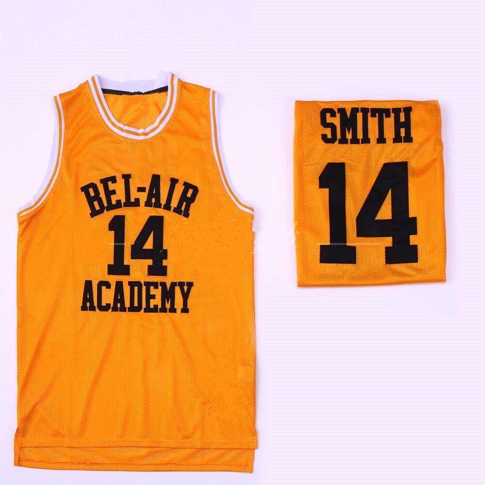 Le Prince de Bel-Air # 14 Will Smith Academy Film Version # 25 Carlton Banks Noir, Vert, Jaune Basketball Jersey brodé Cousu