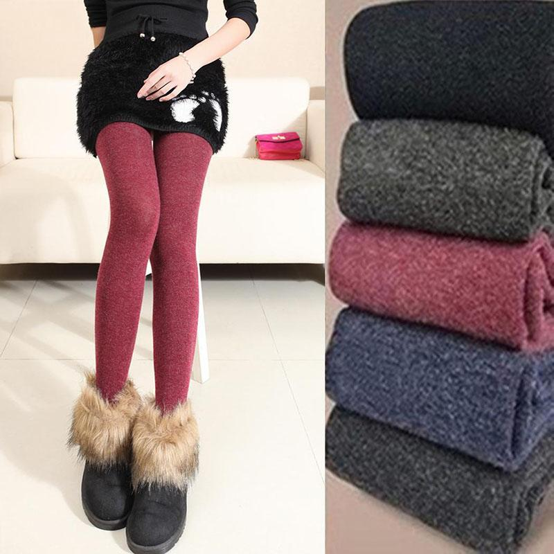 Plus Size Leggings Women's Winter Warm Skinny Slim Fit Leggings Stretch Knitted Thick Stirrup Women Leggings 2019 Women