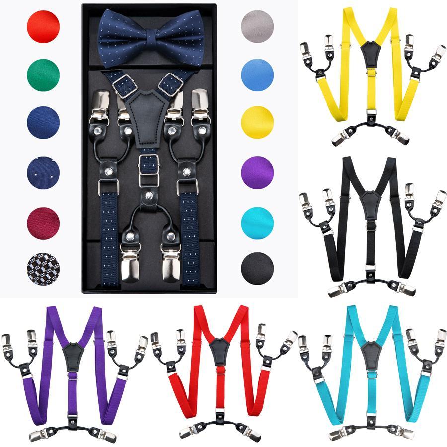 DIBAN PUSURTADORES DE LOS NIÑOS DE COLOR DE MODA COLOR BOTERS Set Boys Girls Suspenders Clip-on Y-Back Braces Bow Tie Cabritos Elásticos Ajustable 200924