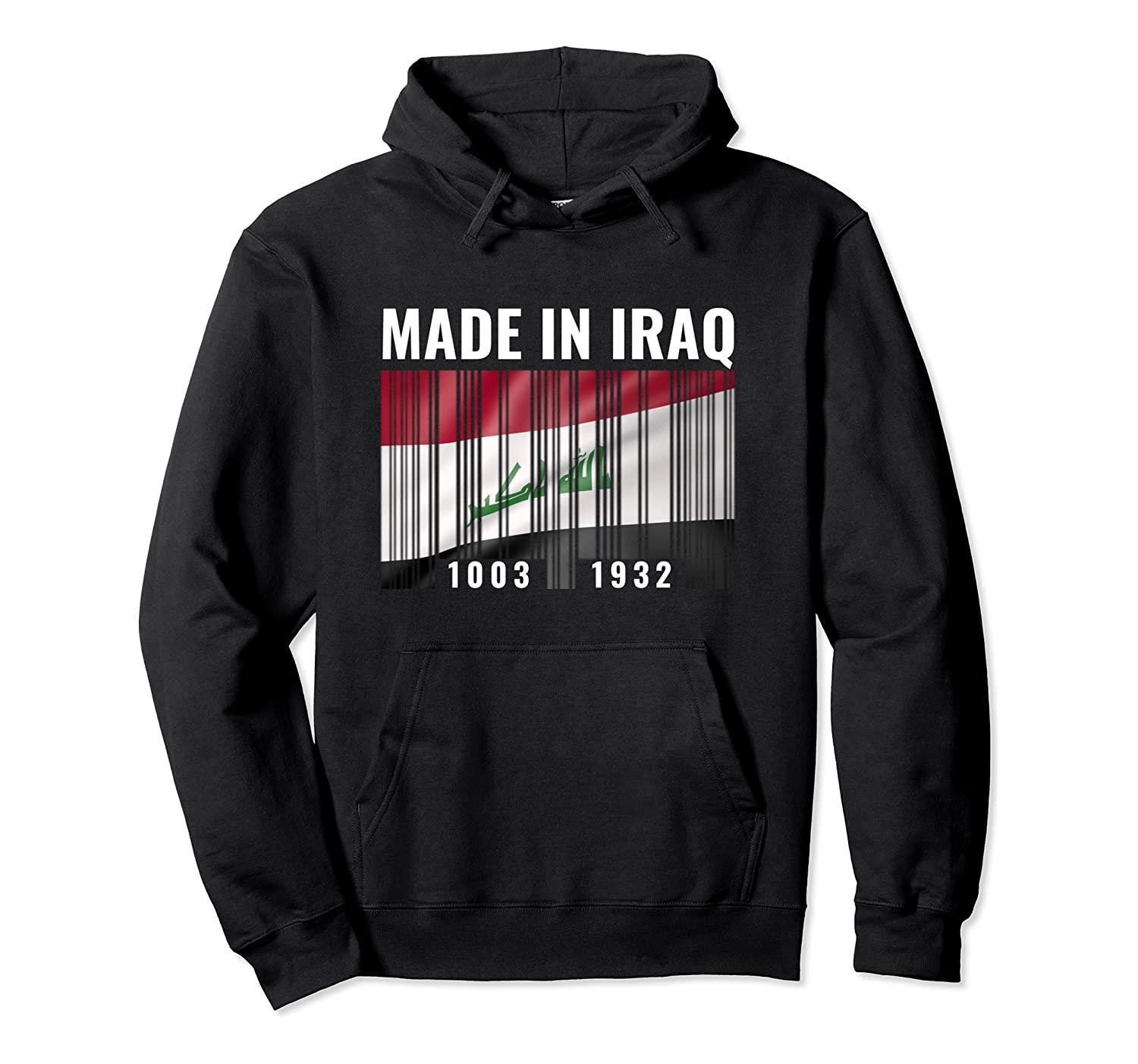 Iraq Heritage Iraqi Roots Barcode Pullover Hoodie Unisex Size S-5XL with Color Black/Grey/Navy/Royal Blue/Dark Heather