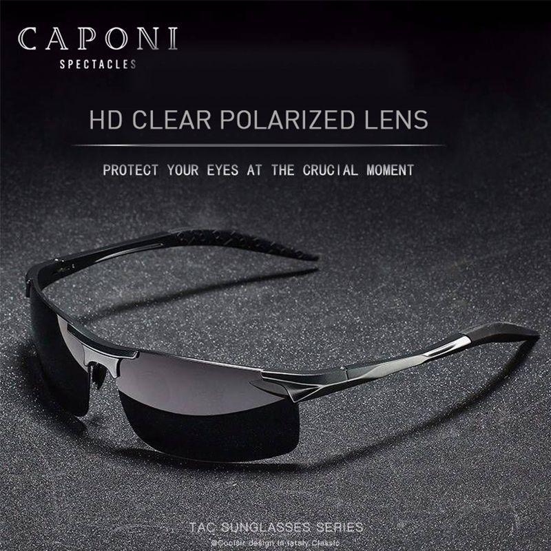 Jour 2020 Lunettes de soleil Shades Sports Caponi Cadre de conduite polarisée pour UV400 CP3043 Aluminium Hommes Sun Homme Protection Verres QAHVS