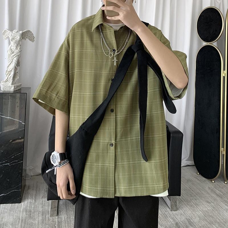 Karierter Männer Kurzarm koreanische Version des Trends ist ein sehr fairisches Hemd Ruffian Hübscher loser vielseitiger faul