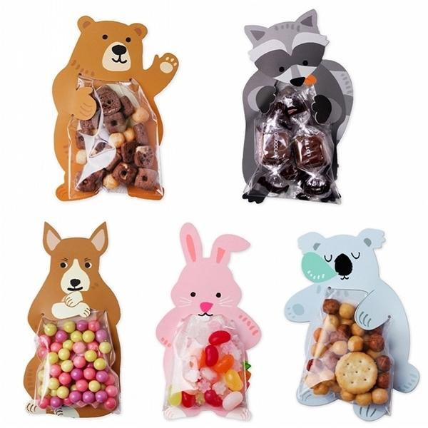 10pcs/lot Animal Cute Gift Baby Shower Birthday Party Cookie Bags Bear Candy Box Greeting Cards Popular Rabbit