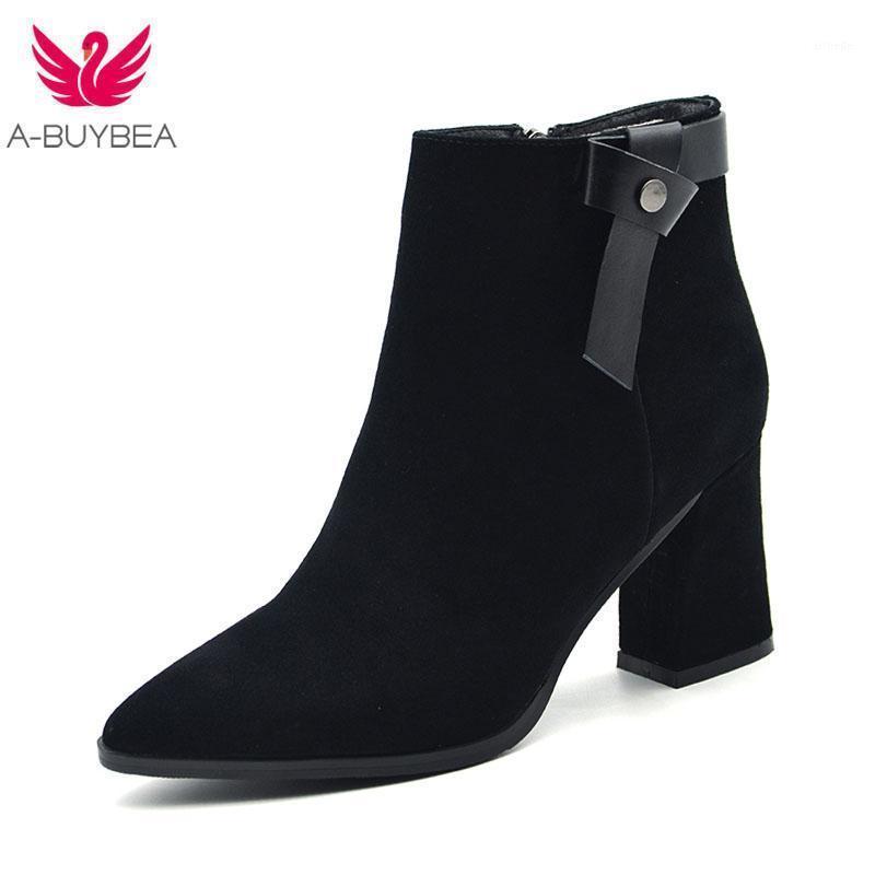 Bottines en daim Black Heel Boots Femmes pointues Toe Toe étanche Stinver Stativali 2021 hiver Nouvelle femme Chunky Heel Botas Mujer1