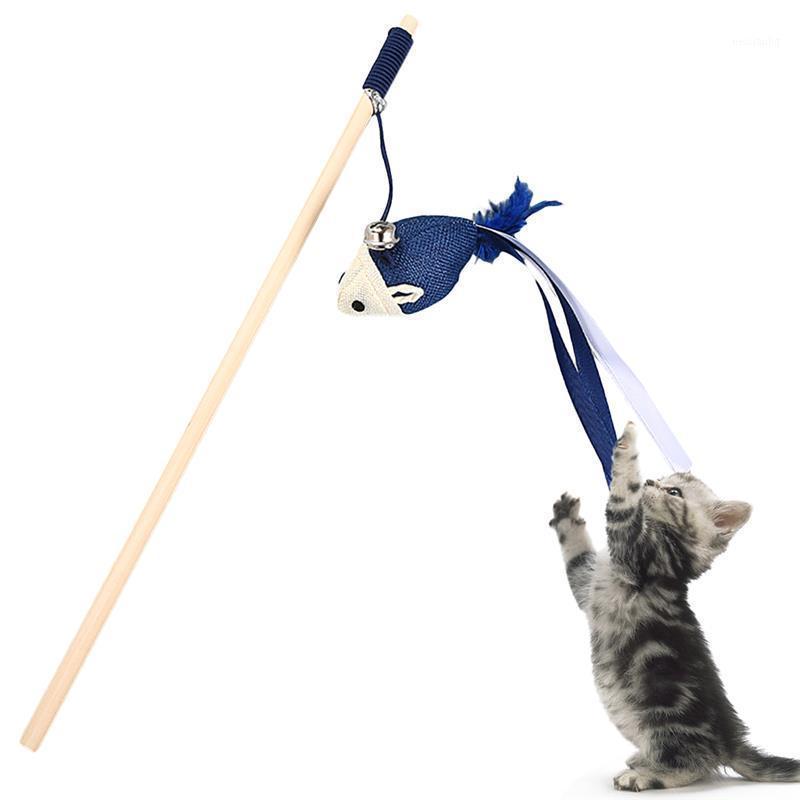 Asta di legno cassaforte e non tossica di legno del gatto divertente del gatto con la campana della piuma di piume della corda della palla del giocattolo dell'animale domestico del giocattolo del giocattolo dell'animale domestico 2019 Nuovo1