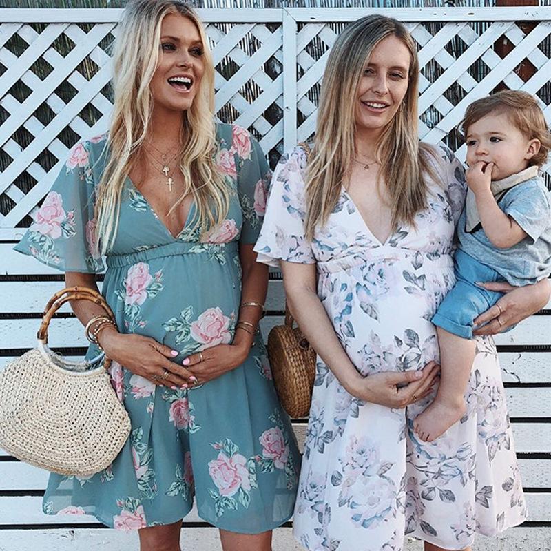 Yaz Seksi Hamile Elbise Çiçek Baskılı Hamilelik Giyim Hamile SunDress için 2020 Kadınlar V yaka Kemer Diz Boyu Elbise