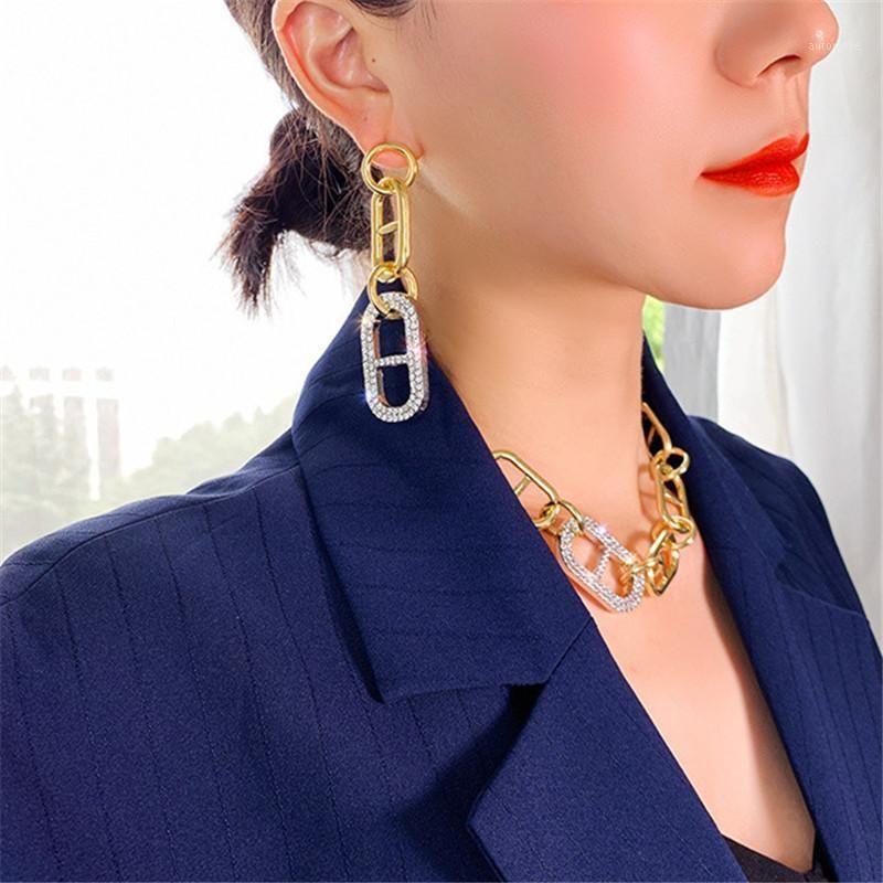 Фьюань мода круг Овальные формы капля серьги для женщин Геометрическая цепочка Серьги горный хрусталь Партия ювелирные изделия Gifts1