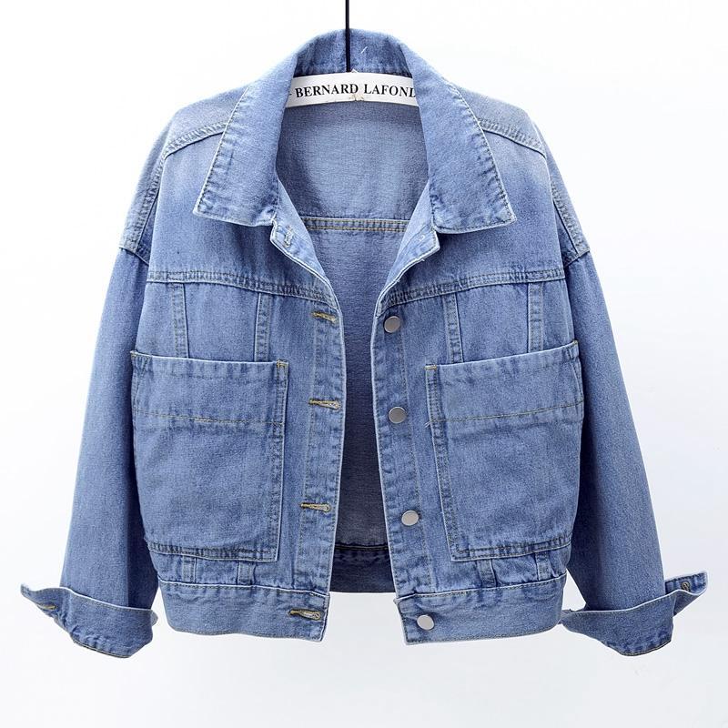 المرأة جاكيتات الربيع خمر الدنيم سترة معطف المرأة chaquetas موهير فضفاض طويل الأكمام كبيرة جيب كبير الأزرق القصير الجينز الإناث قميص