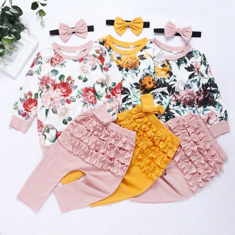 0-24M Newborn Kdi Baby Girl Floral Clothes set Long Sleeve Tops Long Pants Headband 3PCS Elegant Cute Princess Sweet Outfits NJhk#