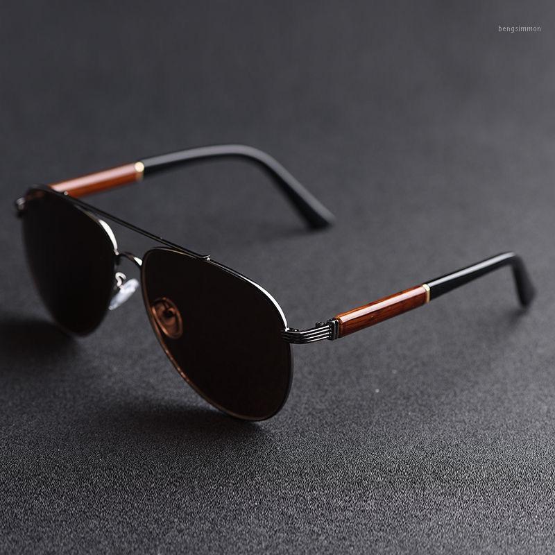 Óculos de sol Vazrobe Vazrobe Macho Moda de Madeira Sol Óculos Homens Escuro Marrom Aviação Designer Designer Vintage Oversize1