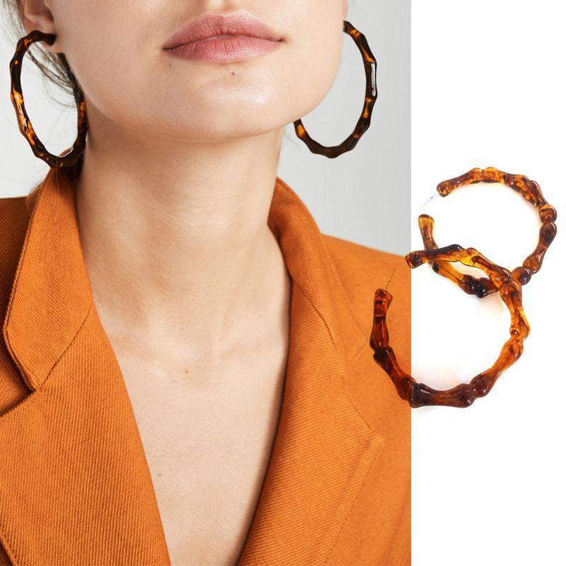 2pcs / Paire Femmes Filles Acrylique Bambou Joint Big Boucles d'oreilles Mode géométrique Cercle Boucle Bijoux de fête Accessoires