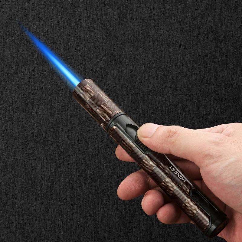 Honnête nouveau stylo pulvérisateur pulvérisateur jet butane bougeon briquet cuisson ustouche torche turbo coupe-vent tuyau allume gadgets hommes