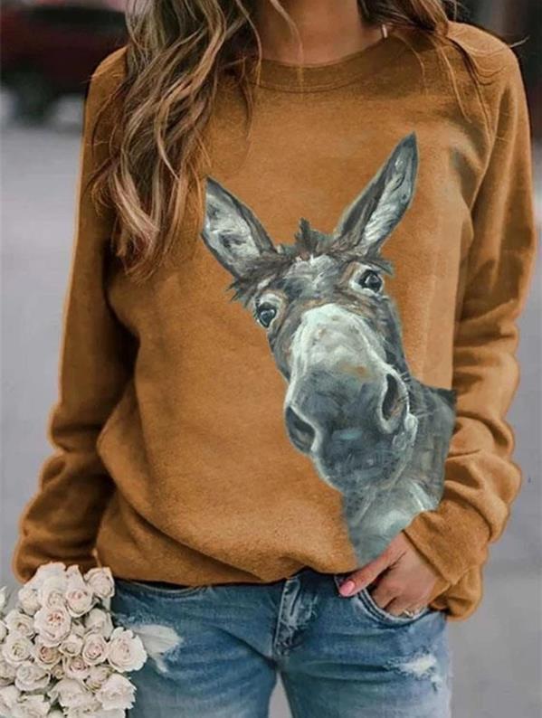2020 outono e inverno longo top de manga nova impressa pullover casuais rodada pulôver Top camisola camisola do pescoço para as mulheres QscI7