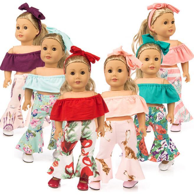 18 İnç Bebek Giyim American Girl Doll için Renkli Omuz Kıyafet Suit