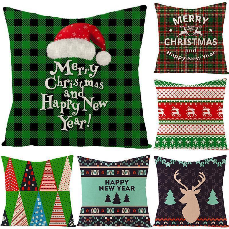 45 * 45cm Kissenbezug Dekorationen für Weihnachtsmann-Weihnachts Deer Baumwolle Leinen Kissenbezug Wohnkultur DHB2937
