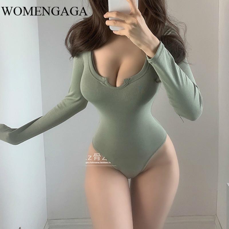 Женские комбинезоны Rompsers Womengaga 2021 Французская мода V шеи Низкий грудь тощий тонкий темперамент полного рукава осень зима база тела боди