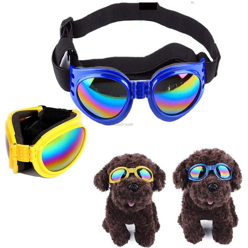 Dog Sunglasses Goggles Pet Puppy Sunglasses with Adjustable Head and Chin Straps Windproof Eye Wear Protection will and sandy new