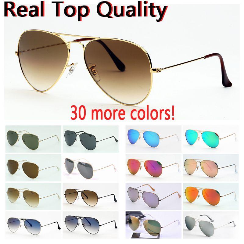 الرجال النظارات الشمسية أعلى جودة الطيران الطيار ظلال نظارات الشمس للرجال النساء مع حقيبة جلد أسود أو بني، وقماش، وملحقات البيع بالتجزئة!